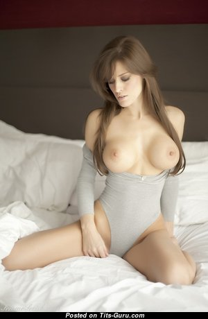 Beautiful Brunette with Beautiful Naked Fake Knockers & Inverted Nipples (Sexual Picture)