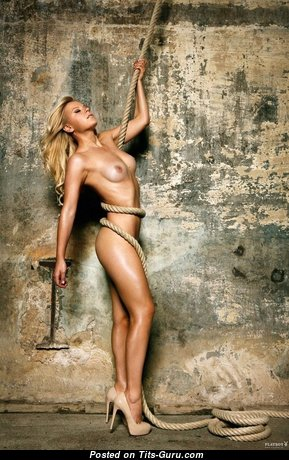 Miriam Neureuther - Good-Looking Topless Playboy Blonde with Good-Looking Bald Natural Boob (Sexual Picture)