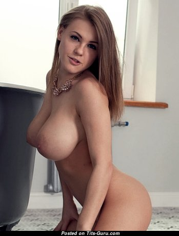 Good-Looking Babe with Good-Looking Naked Natural Full Breasts (Porn Image)