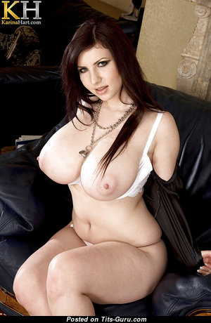 Karina Hart - Delightful Topless Czech Red Hair Mom, Babe, Wife & Housewife with Delightful Defenseless Big Sized Hooters & Huge Nipples in Panties & Stockings is Undressing (Leaked Xxx Photo)