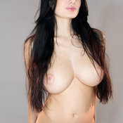Brunette with big natural boob photo