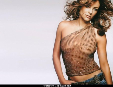 Elizabeth Hurley - Pretty British Brunette with Pretty Bald Natural Tight Hooters (Hd Sexual Wallpaper)