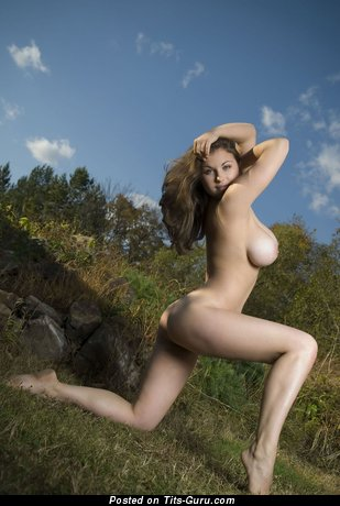 Image. Nude brunette with big natural boob picture