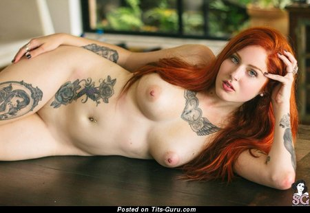Marvelous Red Hair Babe with Marvelous Defenseless Mid Size Tittys & Tattoo (Hd Sex Photo)