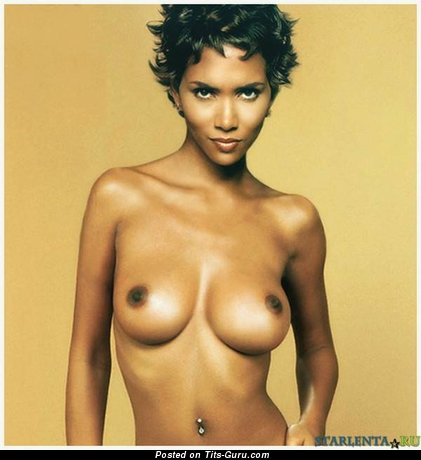 Image. Halle Berry - naked ebony brunette with medium natural tots picture