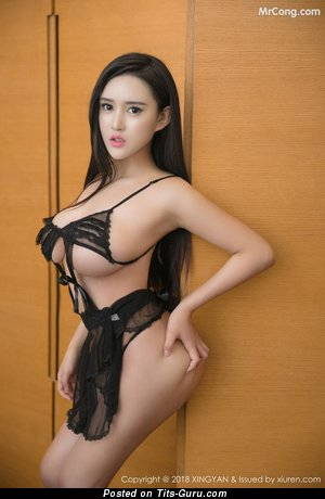 Bai Yi Han - The Best Non-Nude & Glamour Asian Brunette with The Best Big Boob in Lingerie (Home Hd Porn Foto)