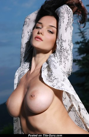 Image. Jenya D - topless awesome lady with medium natural tittes and piercing image