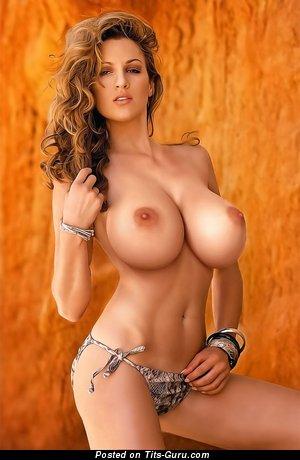 Image. Naked blonde with big fake boob image