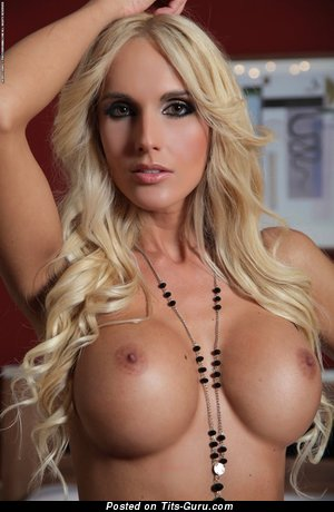 Image. Sexy topless blonde with fake tittys pic