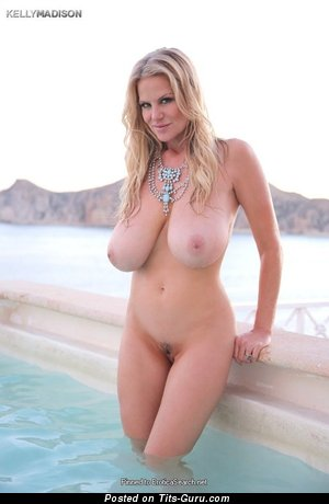 Kelly Madison - Beautiful Wet American Blonde Babe & Pornstar with Beautiful Bald Natural Full Titties in the Pool (Sex Pix)