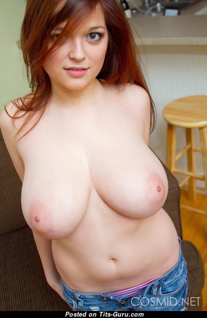 Beautiful Topless Red Hair Babe with Beautiful Open Real Normal Boobs (Porn Photo)