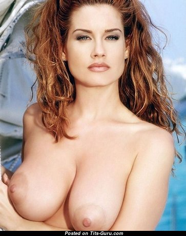 Carrie Stevens - Sweet American Playboy Red Hair Babe with Sweet Open Real Normal Balloons & Large Nipples (Porn Image)