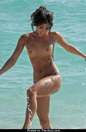 Image. Wet topless brunette with small natural tittys pic