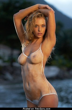 Image. Sexy wet topless amateur blonde with medium natural boob pic