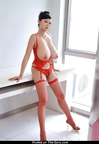 Image. Sexy nude asian brunette with big natural boob picture