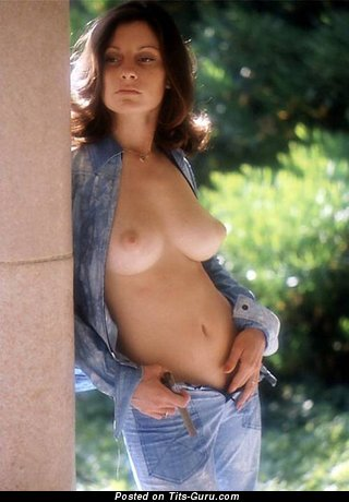 Topless brunette with natural tittys vintage