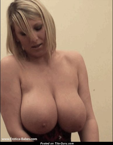 Sexy topless blonde with medium natural tittys gif