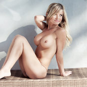 Blonde with big fake breast image