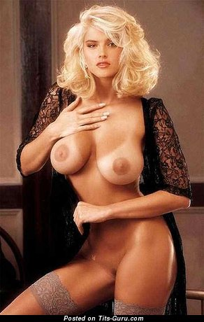 Anna Nicole Smith & Wonderful American Playboy Brunette & Blonde Actress with Wonderful Defenseless Normal Titty (Vintage Porn Pic)