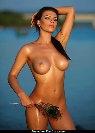 Image. Naked brunette with medium breast image