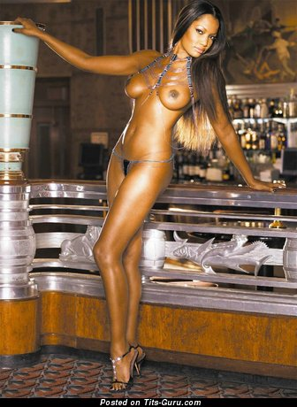 Lovely Topless Ebony Floozy with Lovely Defenseless Firm Titty in High Heels (Xxx Foto)