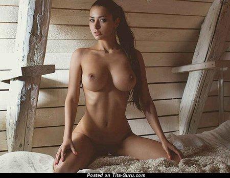 Helga Lovekaty - sexy naked brunette with medium natural boob photo