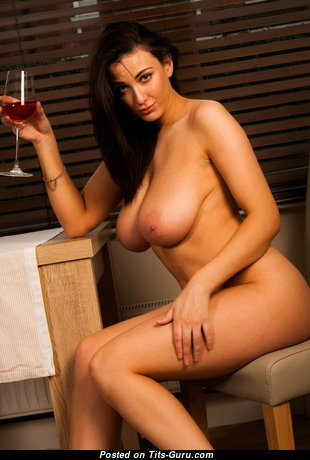 Dazzling Brunette Babe with Dazzling Naked Real Sizable Tittes & Long Nipples (Sexual Picture)