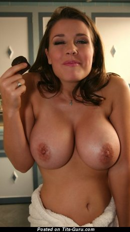 Image. Brunette with big natural breast photo