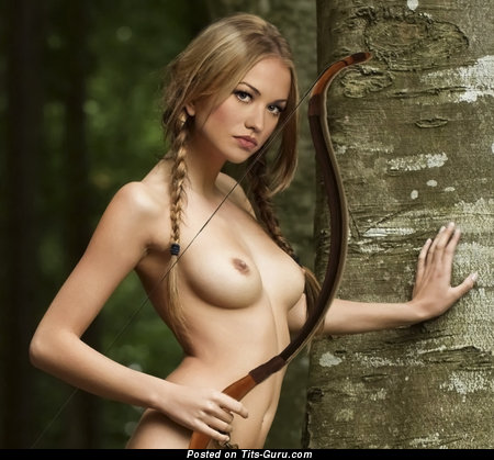 Image. Nude blonde with natural breast image