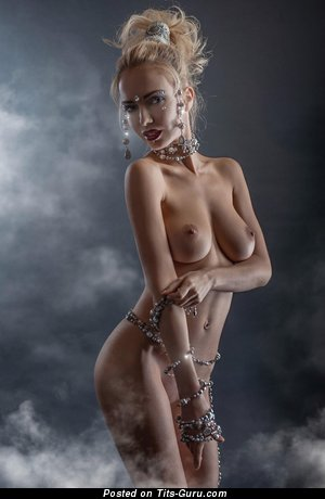 Image. Naked blonde with medium natural boobies pic