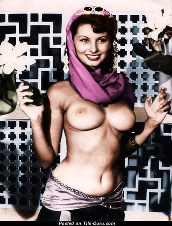 Sophia Loren - Awesome Italian Actress with Awesome Nude Real Normal Titty (Vintage Hd Porn Pic)