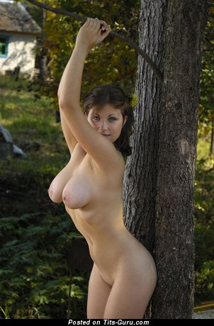 Image. Nude brunette with big natural tittes and big nipples picture