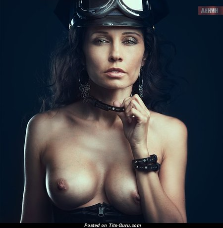 Pleasing Painted Brunette with Pleasing Exposed Med Knockers (Porn Image)