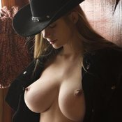 Topless blonde with big boobies image