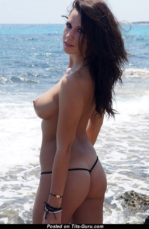 Amy Knight - Marvelous Brunette with Marvelous Open Natural Regular Boobies & Giant Nipples on the Beach (Hd Porn Picture)