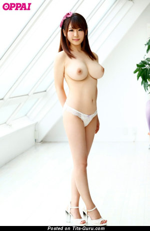 Image. Sexy nude asian brunette with big tots image