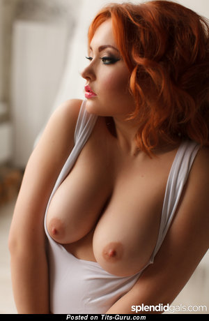 Image. Liza - nude red hair with big natural boob picture