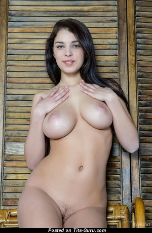 Sexy nude brunette with medium natural tits and big nipples image