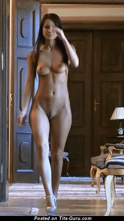 Image. Naked beautiful female with medium natural tits gif