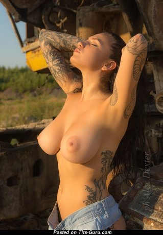 Евгения Таланина - Magnificent Brunette Babe with Sweet Nude Natural Mid Size Titties, Erect Nipples, Tattoo in Shorts (Sex Photo)