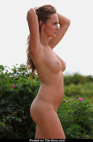 Image. Milana F - sexy nude brunette with medium natural boobs photo