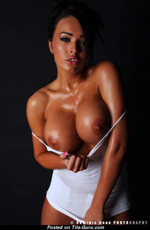 Hot Tits - Charming Glamour Babe with Charming Defenseless Round Fake Busts is Doing Fitness (Vintage Porn Photo)