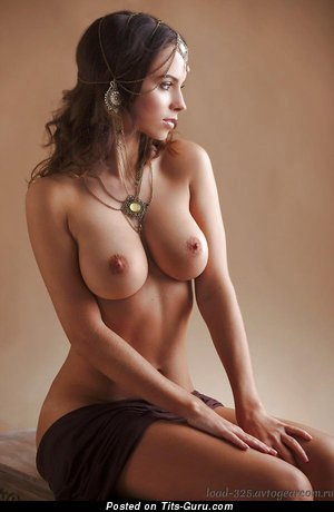 Image. Sexy nude brunette with medium natural boob photo