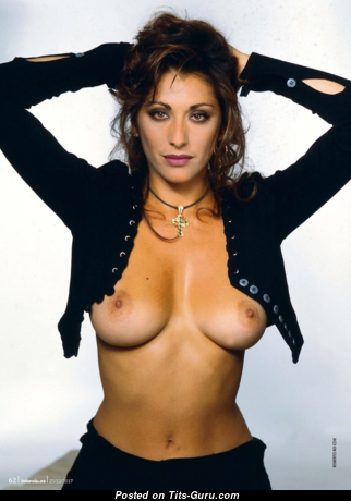 Sabrina Salerno - Pretty Topless Italian Brunette with Pretty Open Real Regular Boobys (Hd Sexual Wallpaper)