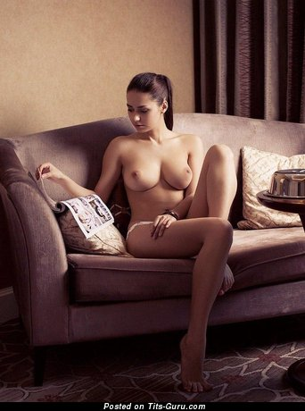 Helga Lovekaty - Alluring Topless Russian Brunette Pornstar & Babe with Alluring Bare Natural Ddd Size Titties & Large Nipples (Porn Photoshoot)