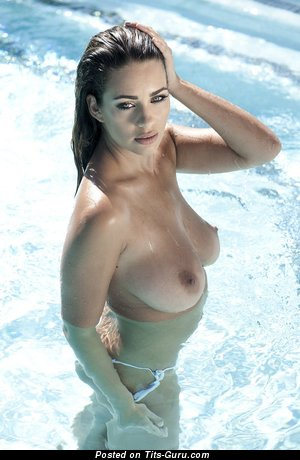 Sexy wet naked amazing female with natural tits picture
