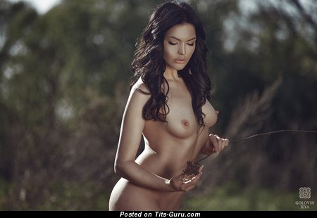 Image. Nude brunette with medium natural boob picture