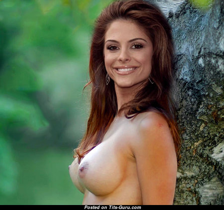 Appealing Brunette Babe with Appealing Nude Round Fake Very Big Busts (Sex Wallpaper)