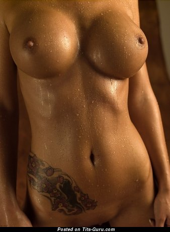 Image. Wet nude amazing girl with big fake breast and tattoo photo