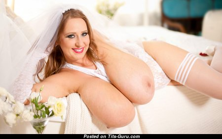 Abbi Secraa - The Best Topless & Glamour Polish Blonde Bride with The Best Bare Natural Ultimate Breasts, Large Nipples, Sexy Legs in Stockings, Pantyhose & Panties is Undressing (4k Sex Photo)